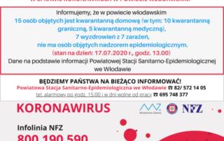 Komunikat w sprawie koronawirusa 17.07.2020